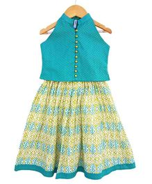 Campana Lehenga With Sleeveless Choli - Green & Turquoise