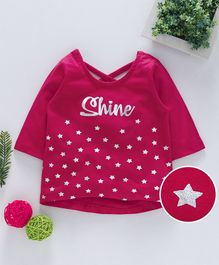 Babyhug Three Fourth Sleeves Tee Star  Print - Dark Pink