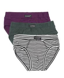 Claesens Holland Pack Of 3 Brief - Violet Green & White
