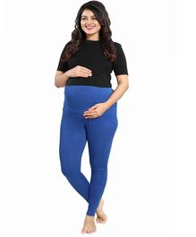 Mamma's Maternity Solid Full Length Maternity Legging - Blue