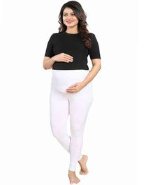 Mamma's Maternity Solid Full Length Maternity Legging - White