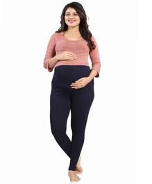 Mamma's Maternity Solid Full Length Maternity Legging - Navy Blue