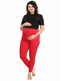 Mamma's Maternity Solid Full Length Maternity Legging - Red