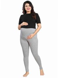 Mamma's Maternity Solid Full Length Maternity Legging - Grey