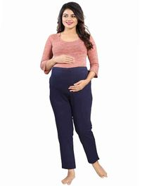 Mamma's Maternity Solid Full Length Maternity Bottom - Blue