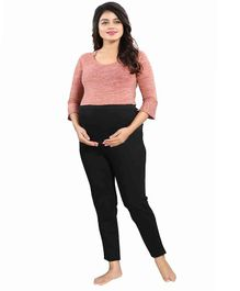 Mamma's Maternity Solid Full Length Maternity Bottom - Black