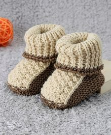 Cute Walk by Babyhug Winter Booties - Cream & Brown