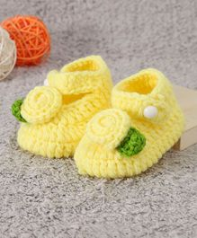 Cute Walk by Babyhug Winter Booties Floral Design - Yellow
