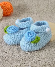 Cute Walk by Babyhug Winter Booties Floral Design - Blue