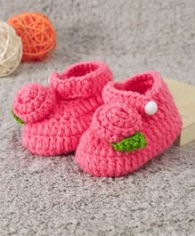 Cute Walk by Babyhug Winter Booties Floral Design - Fuchsia Pink