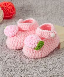 Cute Walk by Babyhug Winter Booties Floral Design - Light Pink