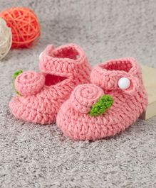 Cute Walk by Babyhug Winter Booties Floral Design - Peach