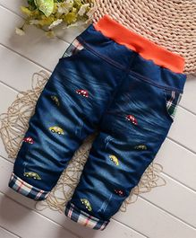 Pre Order - Awabox Car Embroidered Full Length Jeans - Blue