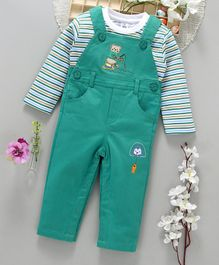 ToffyHouse Dungaree WIth Full Sleeves Striped Tee Bear Patch - Green