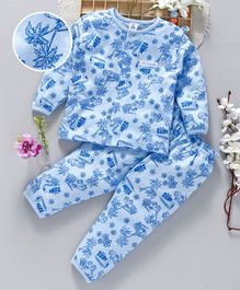 ToffyHouse Full Sleeves Night Suit Surf Print - Light Blue