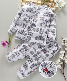ToffyHouse Full Sleeves Night Suit Racing Car Print - Light Grey