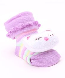 Cute Walk by Babyhug Ankle Length Sock Shoes Kitty Motif - Purple