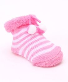 Cute Walk by Babyhug Ankle Length Striped Sock Shoes - Pink
