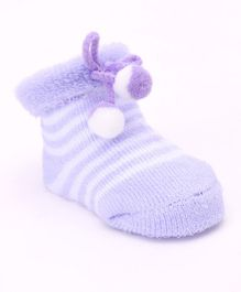 Cute Walk by Babyhug Ankle Length Striped Sock Shoes - Lavender