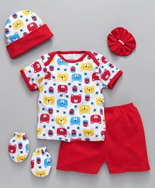 Babyhug Clothing Gift Set Red - 5 Pieces