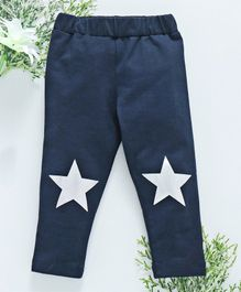 Babyhug Full Length Leggings Star Print - Navy