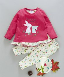 Ollypop Full Sleeves Night Suit Bunny Patch & Floral Print - Dark Pink