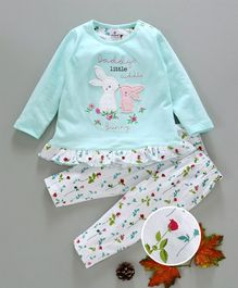 Ollypop Full Sleeves Night Suit Bunny Patch & Floral Print - Light Blue