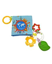 2 Footya Flags Cloth Book & Teethers - Multi Colour