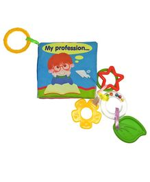 2 Footya Profession Cloth Book & Teethers - Multi Colour