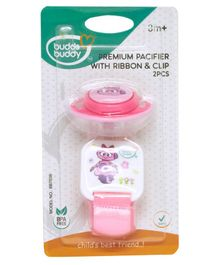 Buddsbuddy Pacifier With Ribbon & Clip - Pink