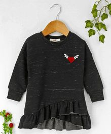Fox Baby Full Sleeves Frock Heart Embroidered - Black