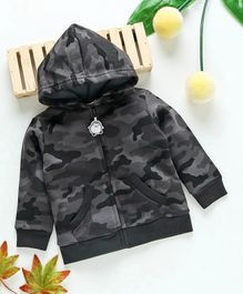 Fox Baby Full Sleeves Hooded Sweat Jacket Camouflage Print - Grey