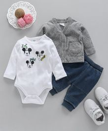 Fox Baby Full Sleeves Onesie Vest And Lounge Pant Mickey Print - White Grey