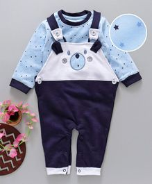 Baby Go Full Sleeves Tee With Dungaree Style Romper Puppy Patch - Blue