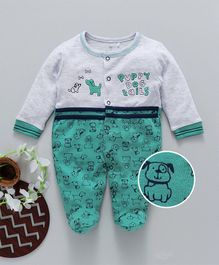 Baby Go Full Sleeves Footed Romper Puppy Print - Green