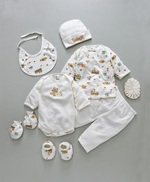 Montaly Clothing Gift Set Bear Embroidery White - 9 Pieces