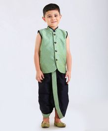 Ethnik's Neu Ron Sleeveless Self Woven Kurta With Dhoti - Green