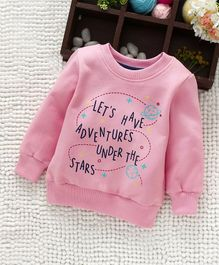 Babyhug Full Sleeves Sweatshirt Adventure Print - Light Pink