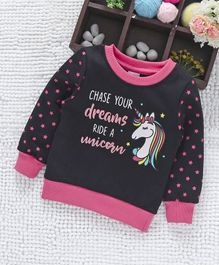 Babyhug Full Sleeves Sweatshirt Unicorn Print - Black Pink