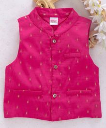 Babyhug Sleeveless Ethnic Jacket - Pink Golden