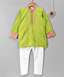 Amairaa Solid Full Sleeves Kurta Pajama Set - Green