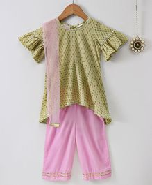 Amairaa Frilled Sleeves Kurta With Salwar & Dupatta - Green & Pink