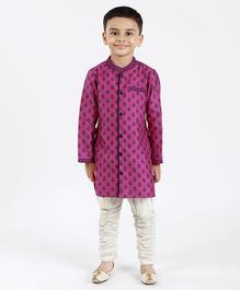 Babyhug Full Sleeves Printed Kurta Pyjama Set - Purple White