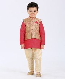 Ethnik's Neu Ron Full Sleeves Kurta Jodhpuri Breeches Set - Red & Cream