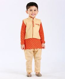 Ethnik's Neu Ron Full Sleeves Kurta Jodhpuri Breeches Set - Orange & Cream