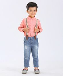 Gini & Jony Full Sleeves Printed Shirt With Jeans & Suspenders - Pink & Blue