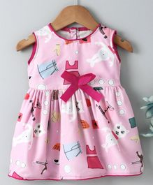 Dew Drops Sleeveless Frock Ribbon Bow Applique - Pink