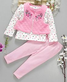 ToffyHouse Full Sleeves Printed Tee With Leggings & Sleeveless Quilted Jacket - Pink White