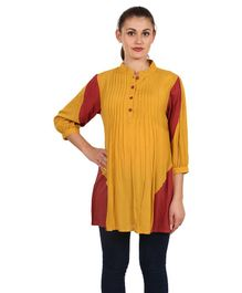 9teenAGAIN Solid Maternity Top - Yellow & Red