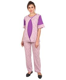 9teenAGAIN Floral Printed Nursing Night Suit - Purple